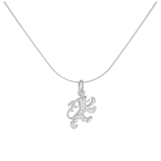 Sterling Silver English Rampant Lion Pendant Necklace 16 - 32 Inches
