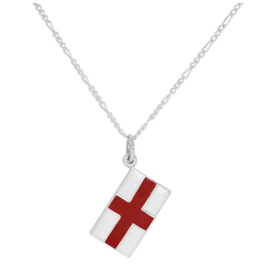 Sterling Silver English Flag Pendant Necklace 14 - 32 Inches
