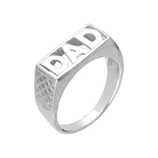 Sterling Silver Dad Ring Sizes L - Z+2