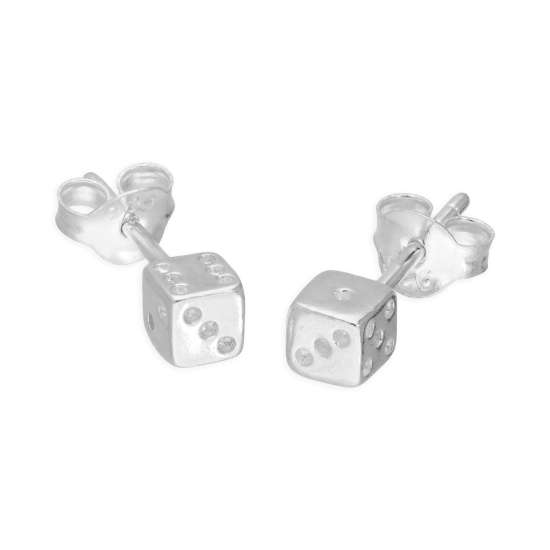 Sterling Silver Small Dice Stud Earrings