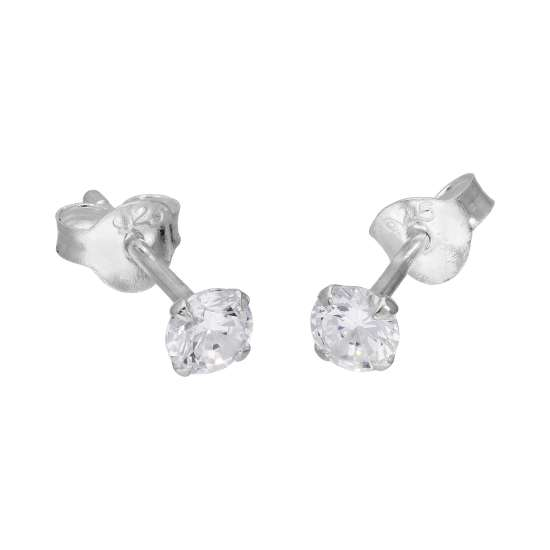 Sterling Silver & 4mm Round White Crystal Stud Earrings