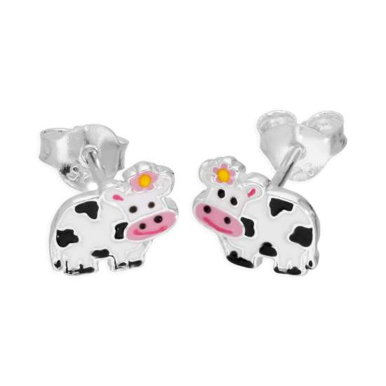 Sterling Silver & Enamel Cow Stud Earrings
