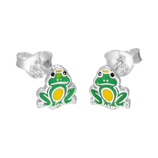 Sterling Silver & Enamel Frog Prince Stud Earrings