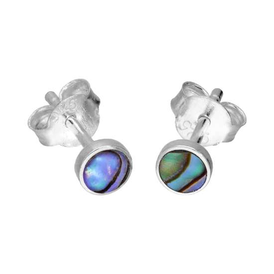 Sterling Silver & 4mm Round Abalone Stud Earrings