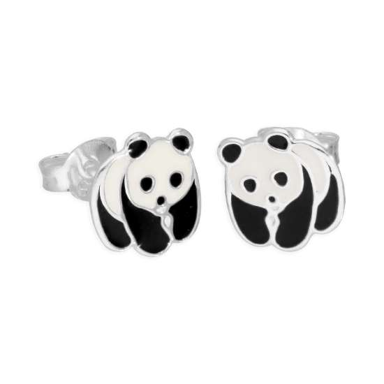 Sterling Silver & Enamel Panda Bear Stud Earrings