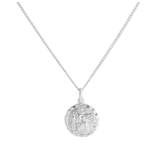Sterling Silver Diamond Cut Round St Christopher Necklace 16 - 24 Inches