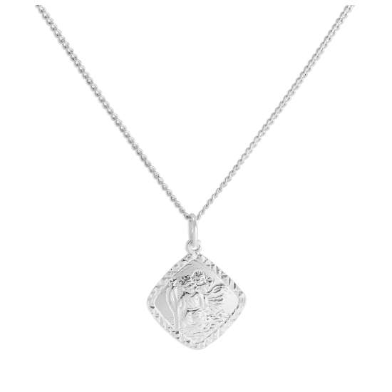 Sterling Silver Diamond Cut Square St Christopher Necklace 16 - 24 Inches