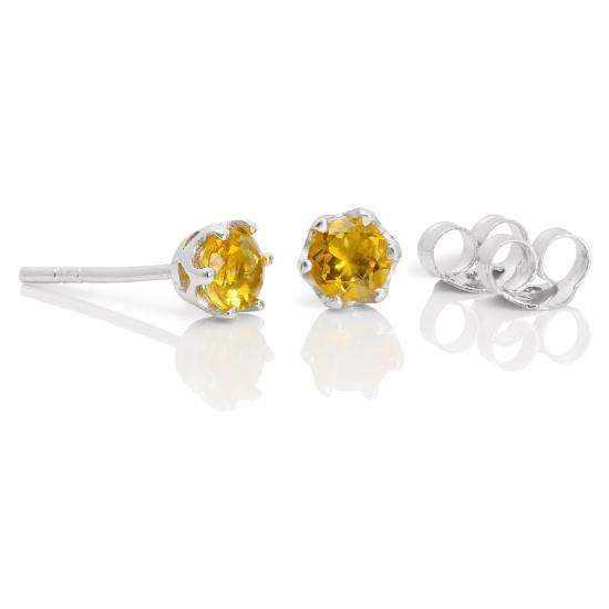 Sterling Silver & 4mm Round Citrine Gemstone Stud Earrings