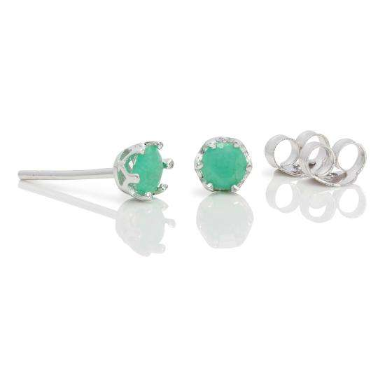 Sterling Silver & 4mm Round Emerald Gemstone Stud Earrings