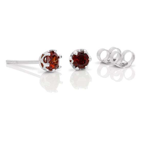 Sterling Silver & 4mm Round Garnet Gemstone Stud Earrings