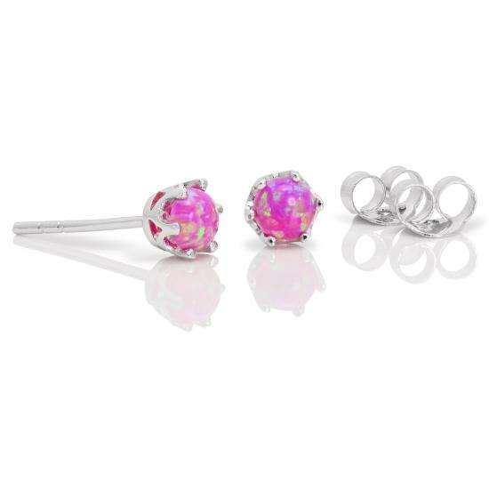 Sterling Silver & 4mm Round Violet Opal Gemstone Stud Earrings