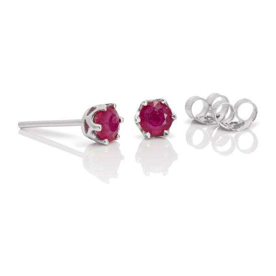 Sterling Silver & 4mm Round Ruby Gemstone Stud Earrings