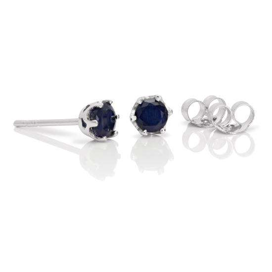 Sterling Silver & 4mm Round Sapphire Gemstone Stud Earrings