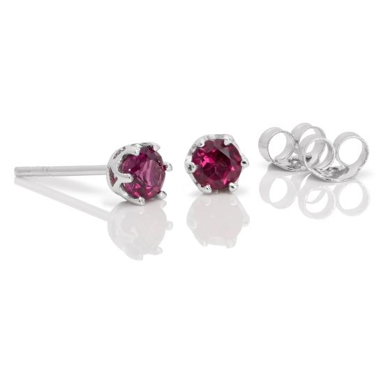 Sterling Silver & 4mm Round Rhodalite Gemstone Stud Earrings