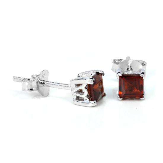 Sterling Silver & 4mm Square Garnet Gemstone Stud Earrings