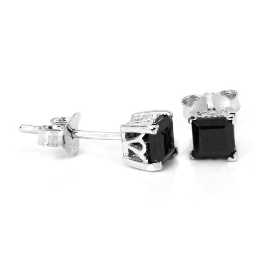 Sterling Silver & 4mm Square Black Spinel Gemstone Stud Earrings