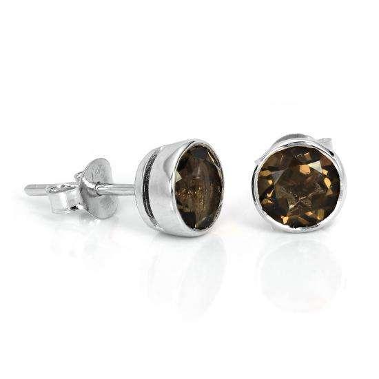 Sterling Silver & 7mm Round Smoky Quartz Gemstone Rubover Stud Earrings