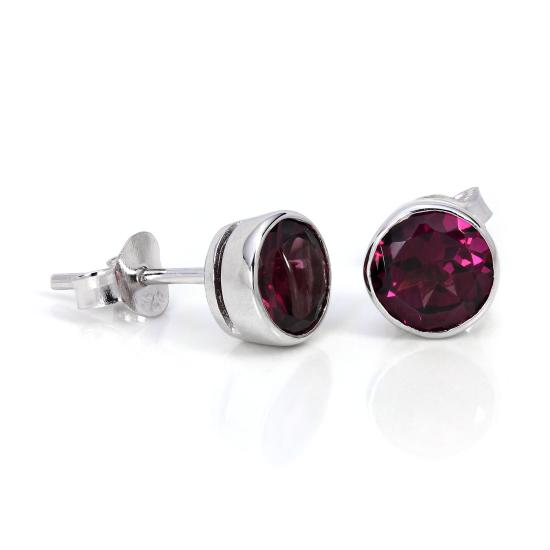 Sterling Silver & 7mm Round Rhodalite Gemstone Rubover Stud Earrings