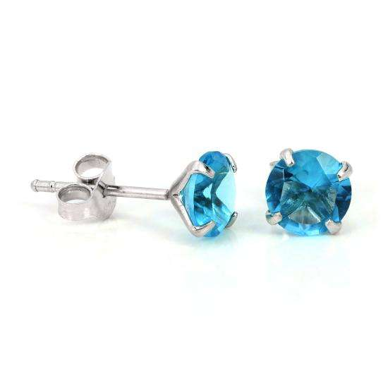 Sterling Silver & 6mm Round 4 Prong Set Aquamarine Gemstone Stud Earrings