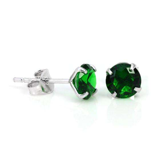 Sterling Silver & 6mm Round 4 Prong Set Green aquamarine Gemstone Stud Earrings