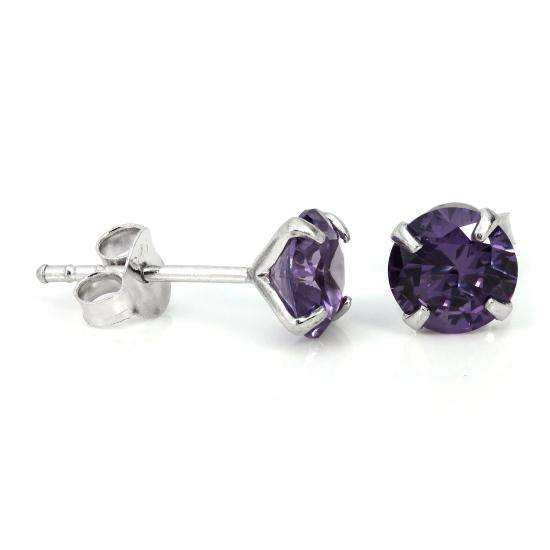 Sterling Silver & 6mm Round 4 Prong Set Alexandrite Gemstone Stud Earrings