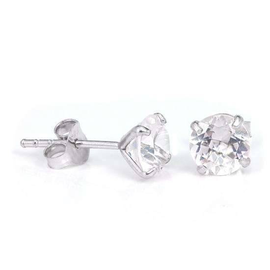 Sterling Silver & 6mm Round 4 Prong Set Clear CZ Crystal Stud Earrings