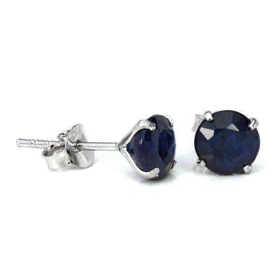 Sterling Silver & 6mm Round 4 Prong Set Sapphire Gemstone Stud Earrings
