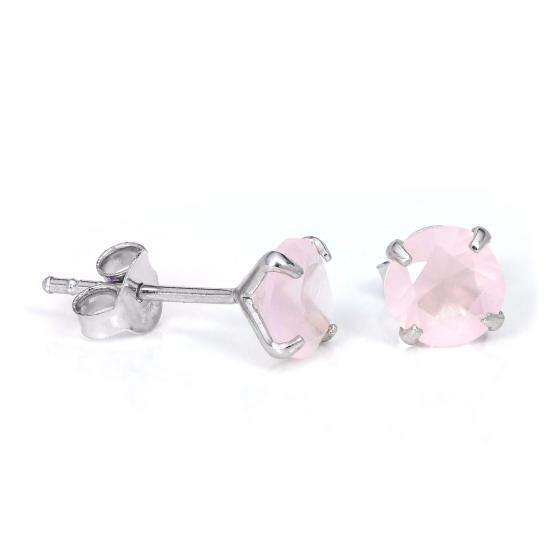 Sterling Silver 6mm Round Prong Set Synthetic Rose Quartz Gemstone Stud Earrings