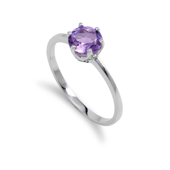 Sterling Silver & 6mm Round Amethyst Gemstone Ring Size I - U