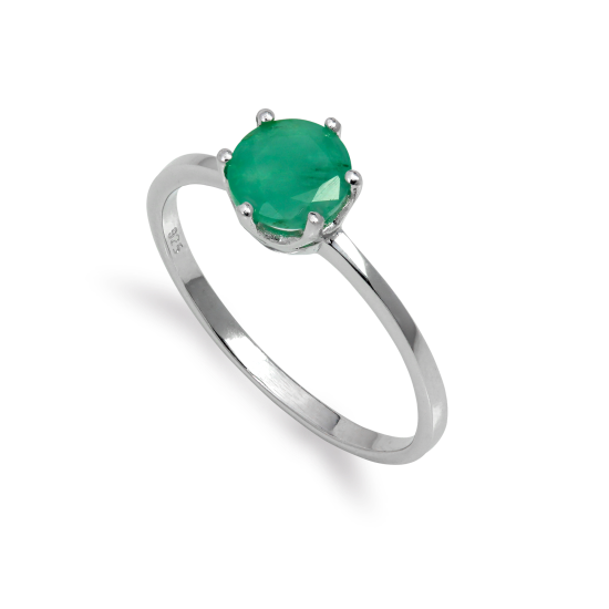 Sterling Silver & 6mm Round Emerald Gemstone Ring Size I - U