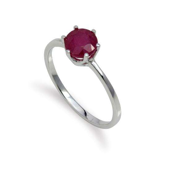 Sterling Silver & 6mm Round Ruby Gemstone Ring Size I - U