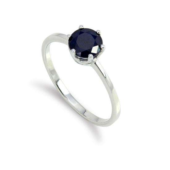 Sterling Silver & 6mm Round Sapphire Gemstone Ring Size I - U