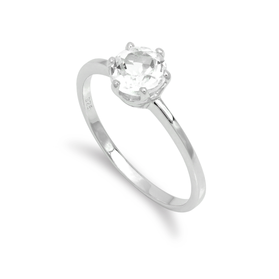 Sterling Silver & 6mm Round White Topaz Gemstone Ring Size I - U