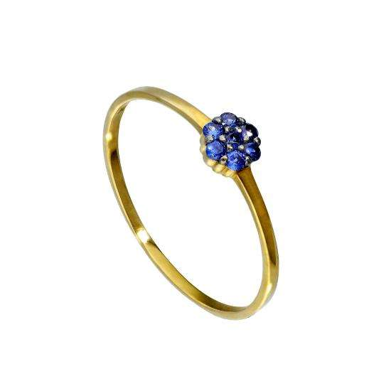 9ct Gold & Sapphire Flower Ring Sizes I - U