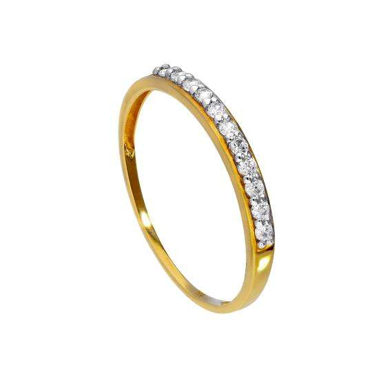 9ct Gold & Clear CZ Crystal Ring Sizes I - U