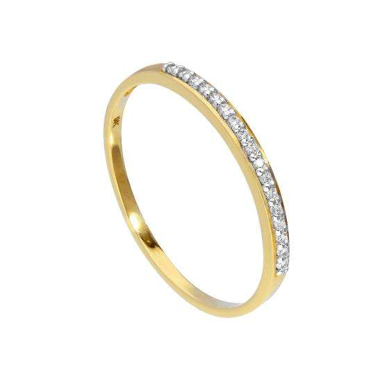 Thin 9ct Gold & Clear CZ Crystal Ring Sizes I - U