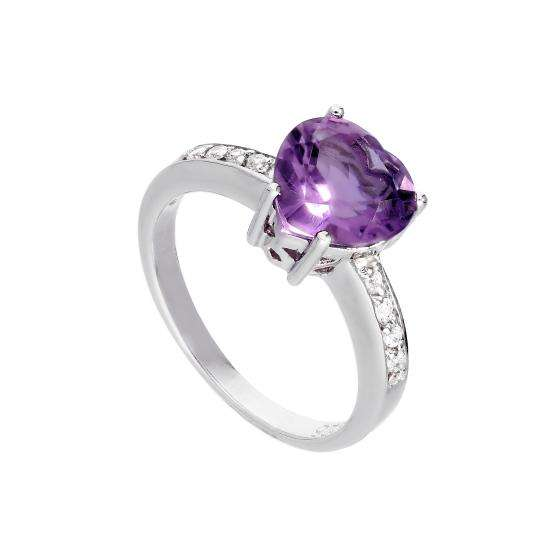 Sterling Silver & Genuine Amethyst Heart Ring w Clear CZ Crystal Shoulders I - U