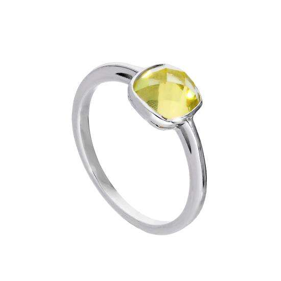 Sterling Silver & Genuine Lemon Quartz Ring w Square Setting Sizes I - U