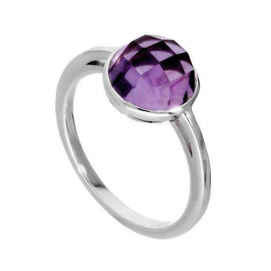 Sterling Silver & Large Genuine Amethyst Ring w Circular Setting I - U