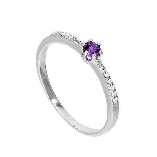 Sterling Silver & Genuine Amethyst Ring w Clear CZ Crystals on Shoulders I - U
