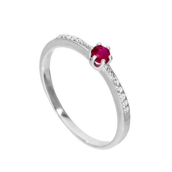 Sterling Silver & Genuine Ruby Ring w Clear CZ Crystals on Shoulders I - U