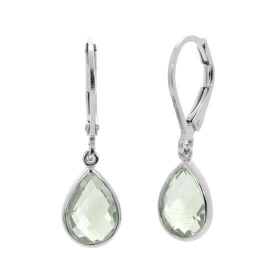 Sterling Silver & Genuine Green Amethyst Teardrop Leverback Earrings