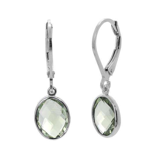 Sterling Silver & Genuine Green Amethyst Oval Leverback Earrings