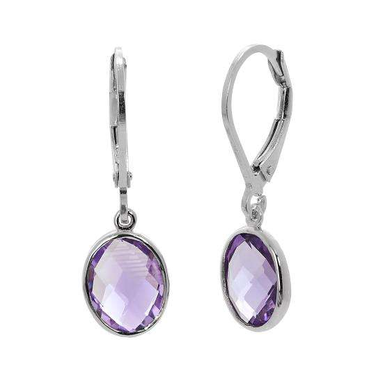 Sterling Silver & Genuine Amethyst Oval Leverback Earrings