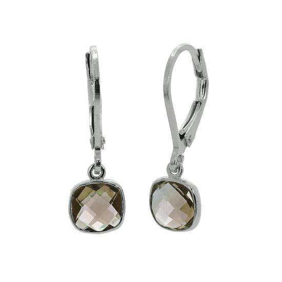 Sterling Silver & Genuine Smoky Quartz Square Leverback Earrings