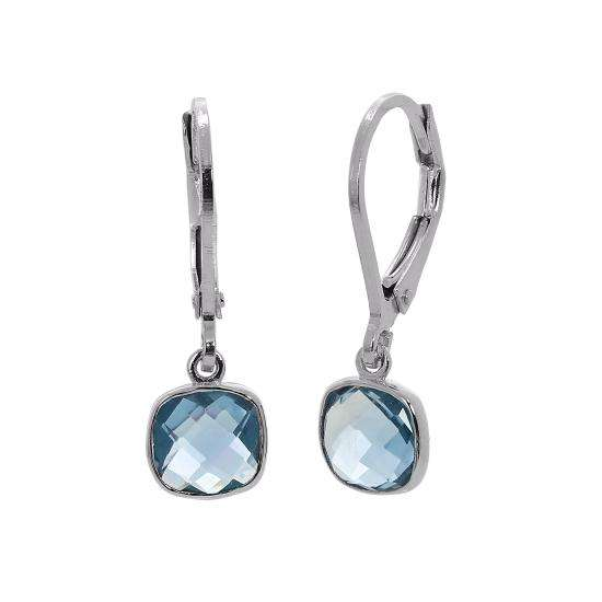 Sterling Silver & Genuine Sky Blue Topaz Square Leverback Earrings