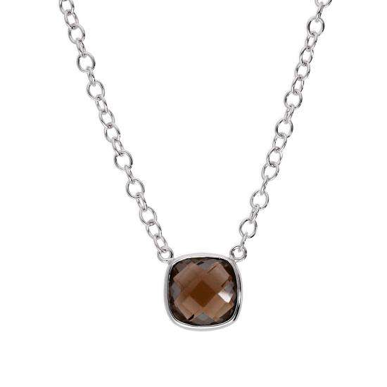 Sterling Silver & Square Genuine Smoky Quartz 18 Inch Necklace w 2 Inch Extender