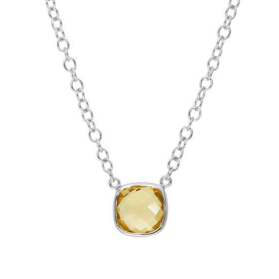Sterling Silver & Square Genuine Citrine 18 Inch Necklace w 2 Inch Extender