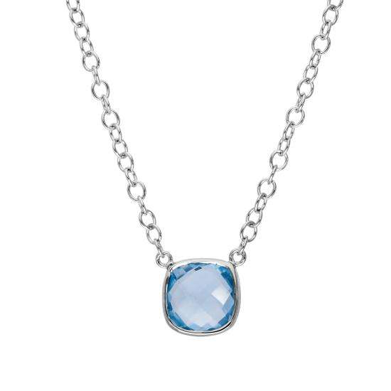 Sterling Silver & Genuine Sky Blue Topaz 18 Inch Necklace w 2 Inch Extender
