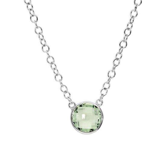 Sterling Silver & Genuine Green Amethyst 18 Inch Necklace w 2 Inch Extender